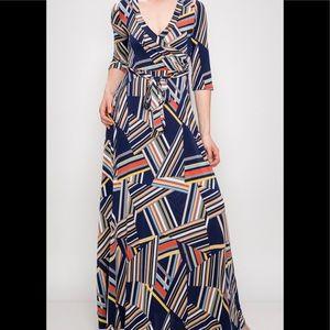 Dresses & Skirts - New Plus Size Geometric Navy Maxi Dress
